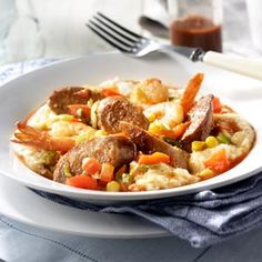 Hot Italian Sausage and Shrimp with Asiago Grits