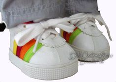 Coolest Tennis Gym Shoes Sneakers for American Girl Doll Clothes Rainbow Striped #Generic