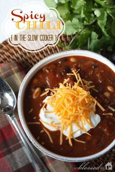 Spicy Chili {In The Slow Cooker} | MyBlessedLife.net