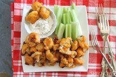 Battered baked cauliflower buffalo bites #recipe