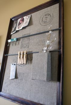 How to make a knockoff of this $149 Pottery Barn organizer with a picture frame and some burlap