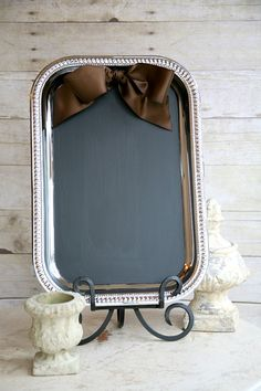 menu? - SO EASY - silver tray from Dollar Tree, painted w/chalkboard pain