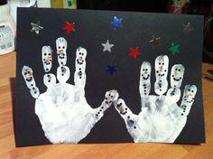 Snowman handprint Christmas cards ⛄