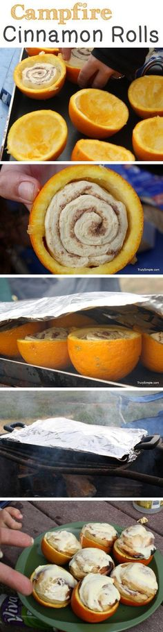 Campfire Cinnamon Rolls ~ Orange flavored cinnamon rolls baked over a campfire in hollowed out oranges! cinnamon roll recipes, idea, cinnamon rolls, family camping, food, outdoor, oranges, campfires, campfir cinnamon