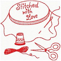 Machine Embroidery Designs - Redwork Sewing Designs- the whole collection sells for $18. Cute for the sewing room