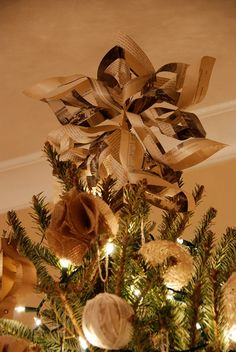 Paper Star Tree Topper, Burlap and Twine ornaments