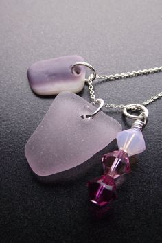 Sea Glass Jewelry - GIRLY GIRL - Seaglass Cluster Necklace