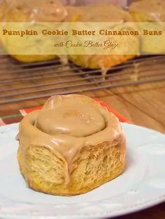 Pumpkin Cookie Butter Cinnamon Buns with Cookie Butter Glaze