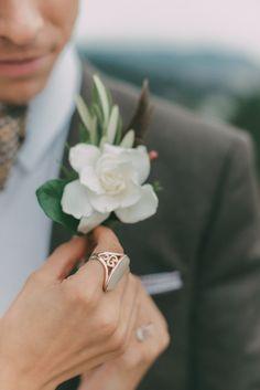 A Groom's Gardenia Boutonniere. | by Gavita Flora #wedding #flowers