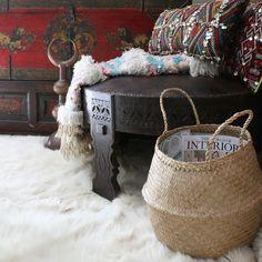 rice basket, chakki, moroccan wedding blanket and pillows-apartmentf15