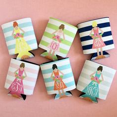 Bridesmaid koozies from Haymarket Designs