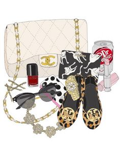 Inside my bag, accesories illustration, chanel, ray-ban