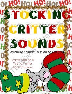 Stocking Critters Sounds Christmas Literacy Center Beginning Sounds from Teenas Teacher Tidbits on TeachersNotebook.com -  (11 pages)  - Phonemic Awareness Christmas activity. Hands on fun.