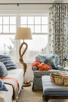 Home on the Waves by Katie Rosenfeld Design. Rope Lamp from Pottery Barn (see here: http://www.completely-coastal.com/2014/03/nautical-decorations-living-room-shop-the-lock.html Table and Floor Rope Lamps)