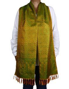 Orange Green Scarf Long Silk Accessory Fashion Women Clothing Indian: Amazon.co.uk: Clothing