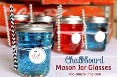 Turn mason jars into chalkboard-topped glasses.
