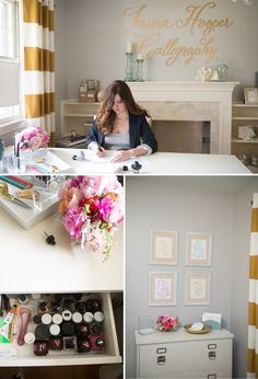 Laura Hooper Calligraphy Office / Designed by Jessica of With Love, Design / Photographed by Abby Jiu Photography / Featured on Glitter Guid...