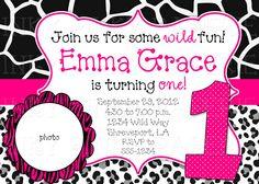 Animal prints birthday party invitation--different color options. $15.00, via Etsy.