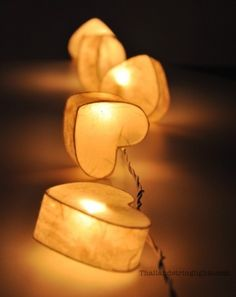 Heart shaped covered string lights