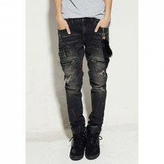 $23.83 Korean Destroy Design Zipper Embellished Fitting Long Jeans For Men