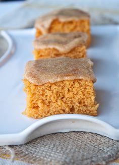 3-ingredient pumpkin angel food cake bars: Pumpkin Spice Glaze 3/4 cup sifted powdered sugar 1 1/2 tbsp hot water 1 tsp vanilla extract 1/4 tsp pumpkin pie spice