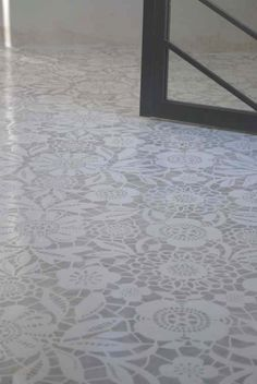 interior, floor design, laundry rooms, porch, design studios, stencils, painted concrete floors, lace patterns, painted floors