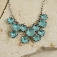 Robins Egg Blue Copper Enamel Dangle Necklace
