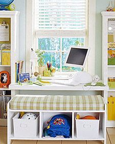 Cool desk and storage space for the kids