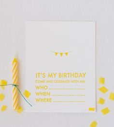 Very cute and simple yellow birthday invitation.