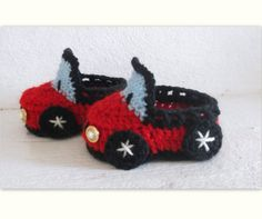 Baby Boy CROCHET PATTERN Booties Car, 4 sizes newborn to 12 month, (Pdf file). $2.99, via Etsy.