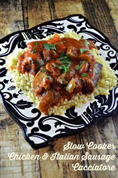 Slow Cooker Chicken & Italian Sausage Cacciatore