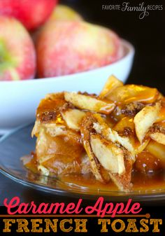 Caramel Apple French Toast •1 loaf french bread  •6 eggs  •1 1/2 cups milk  •1/3 cup sugar  •1 Tbsp. vanilla  •6 apples, peeled, cored, and sliced (tart apples taste best)  •cinnamon, nutmeg, white sugar and brown sugar to taste