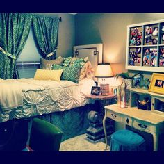 A very classy and organized college dorm room! -- I like this layout with the bed right next to the window.