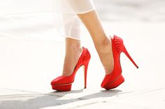 Charlotte Olympia satin pumps. charlotte olympia, olympia heel, style, red shoes, gari pepper, high heel, charlott olympia, pump, heels