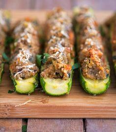 Eggplant Parmesan Stuffed Zucchini Boats