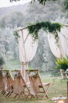 Burlap and Babys Breath Ceremony Chair Decor
