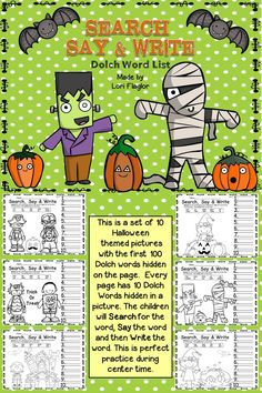 Search, Say, & Write Dolch words with fightfully fun Halloween pictures.