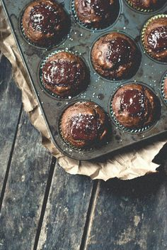 Whole Wheat Chocolate Avocado Muffins