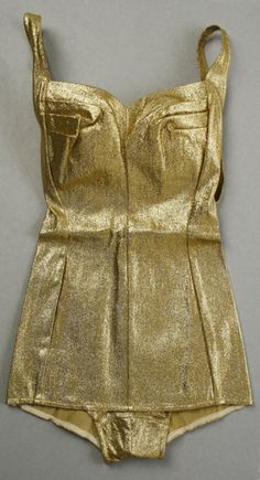 Gold lamé bathing suit by Cole of California, 1965