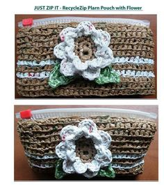Crochet Pattern - RecyleZip Plarn Pouch with Flower crochet pattern... (pic-made with Publix plastic bags) the innovative zipper alternative $3.50