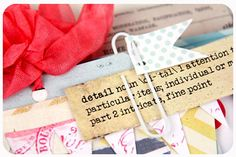 TIP: Embellish a regular paper clip by punching 2 holes in a paper pennant and sliding it onto the paper clip. Use to clip in extra little details.
