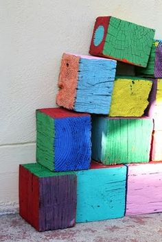 Painting scraps of lumber adds a different kind of prop in the #Block Area of a #Creative_Curriculum for #Preschool classroom. These can also be used outdoors.