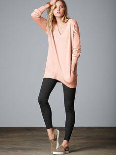 Double V-neck Tunic Sweater in Pinky Cheeks, Small Victoria's Secret