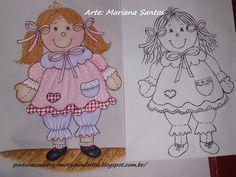 Pintura Country e Motivos Infantis: Boneca de Pano Pintada no Tecido