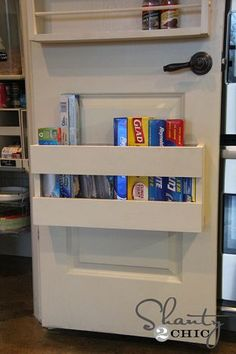 I would love to do this on our pantry/laundry room door to save shelf space. Hometalk: door storage