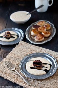 Beer Brined Scallops over Smokey Corn Puree and Stout Molasses Sauce