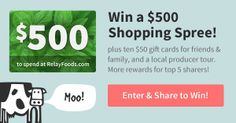 I'm sharing the gift of good food!  Relay Foods is giving away a $500 Gift Card and wants us to gift Relay Foods gift cards out to our friends and family.  Click here to enter and share!