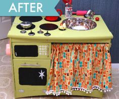 Cutest Play Kitchen made from a yard sale end table. The DIY crafts on Pinterest are so clever!