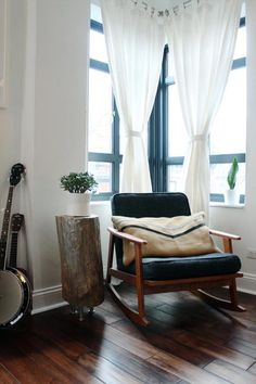 house tours, reading corners, rocker, floor, cozy corner, logs, rocking chairs, black windows, curtain