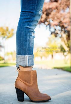 Cuffed jeans and ankle boots